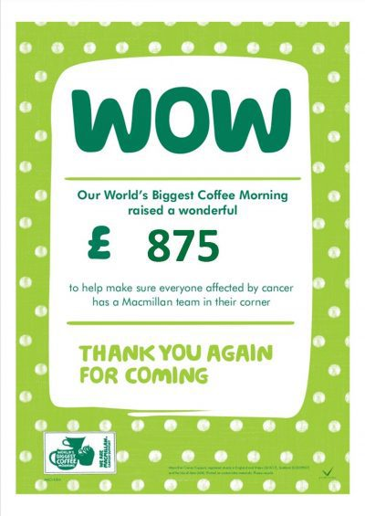 Thank you to everyone who donated or came to our coffee morning today.